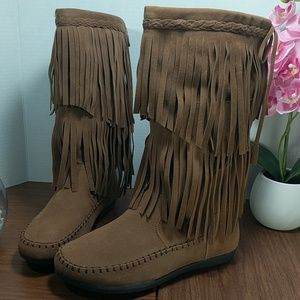 Chestnut Faux Suede Mid Calf Fringed Boot sz 7.5&8